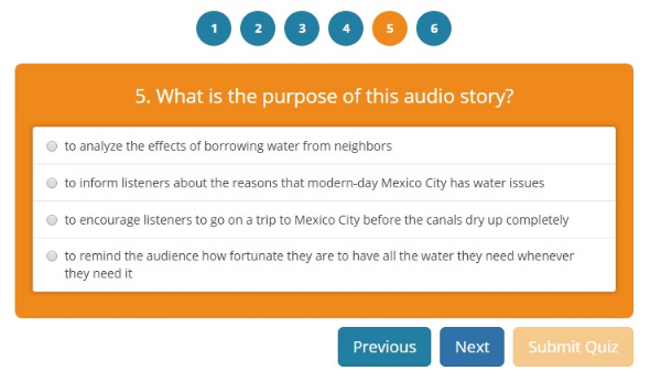 listening comprehension quiz question on speaker's purpose